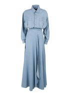 Faith Connexion Cotton-denim Bodysuit And Long Skirt