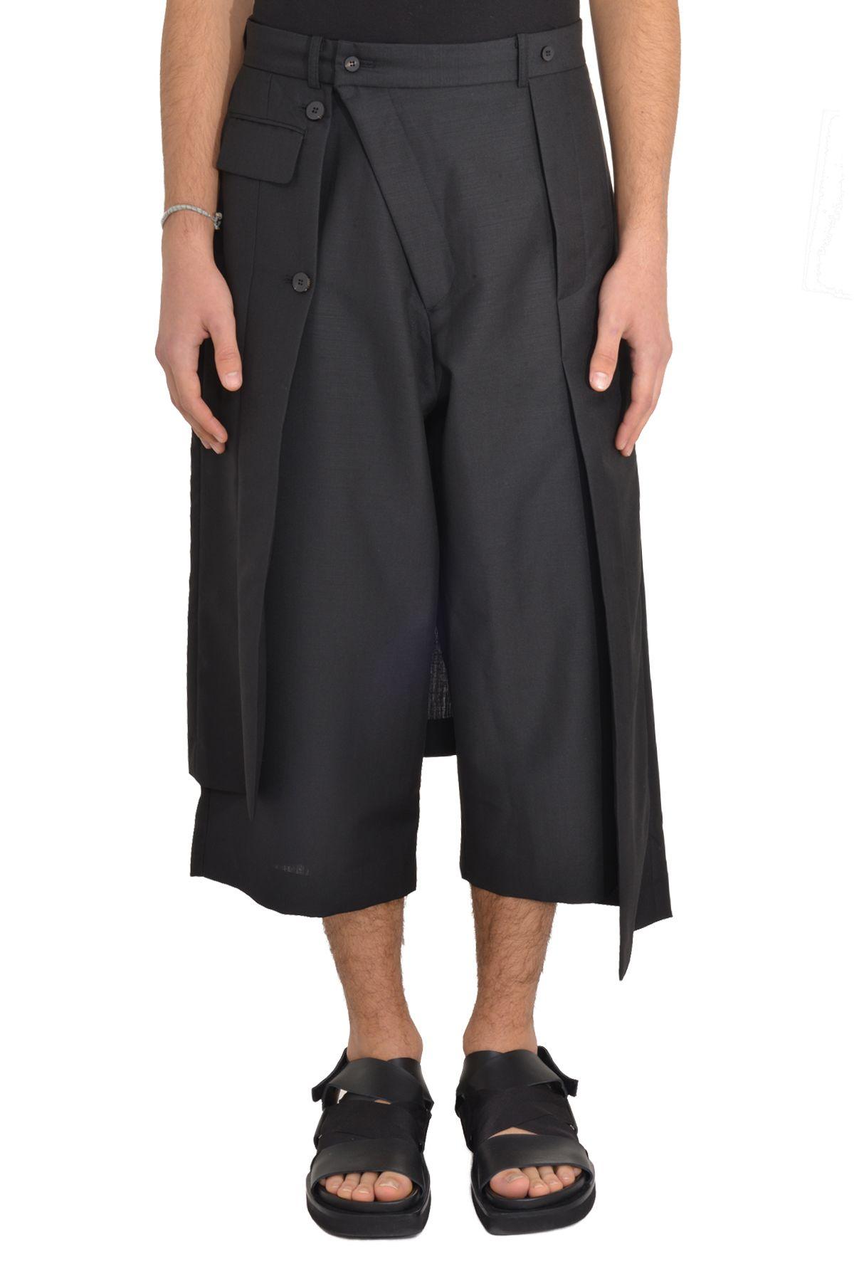 7543 Asymmetric Skirt Layered Shorts