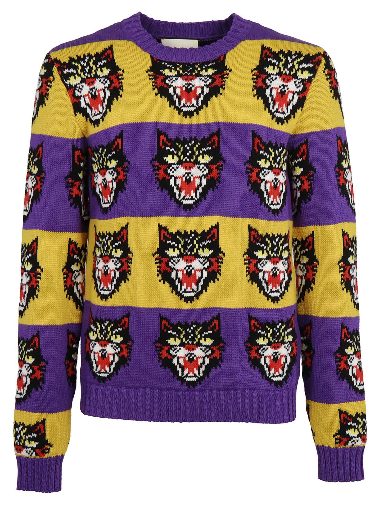 GUCCI Wool Cat Jacquard Knit Striped Sweater in Purple | ModeSens