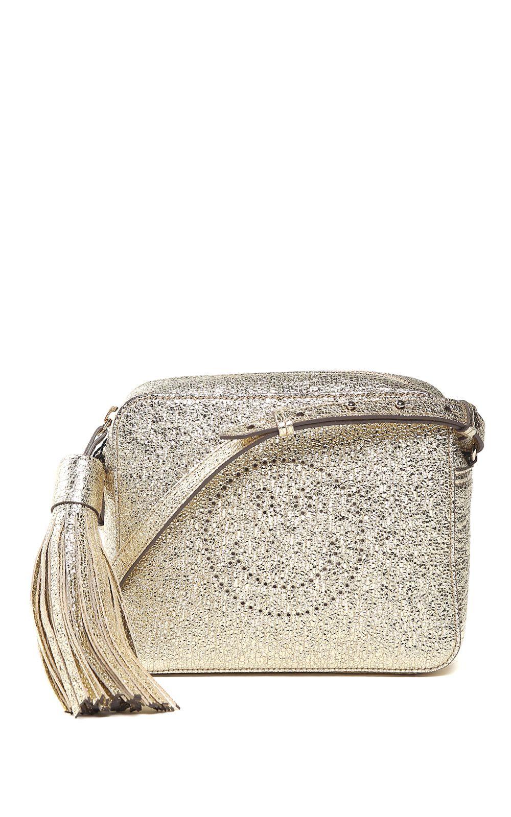 Anya Hindmarch Smiley Crinkled Metallic-leather Cross-body Bag
