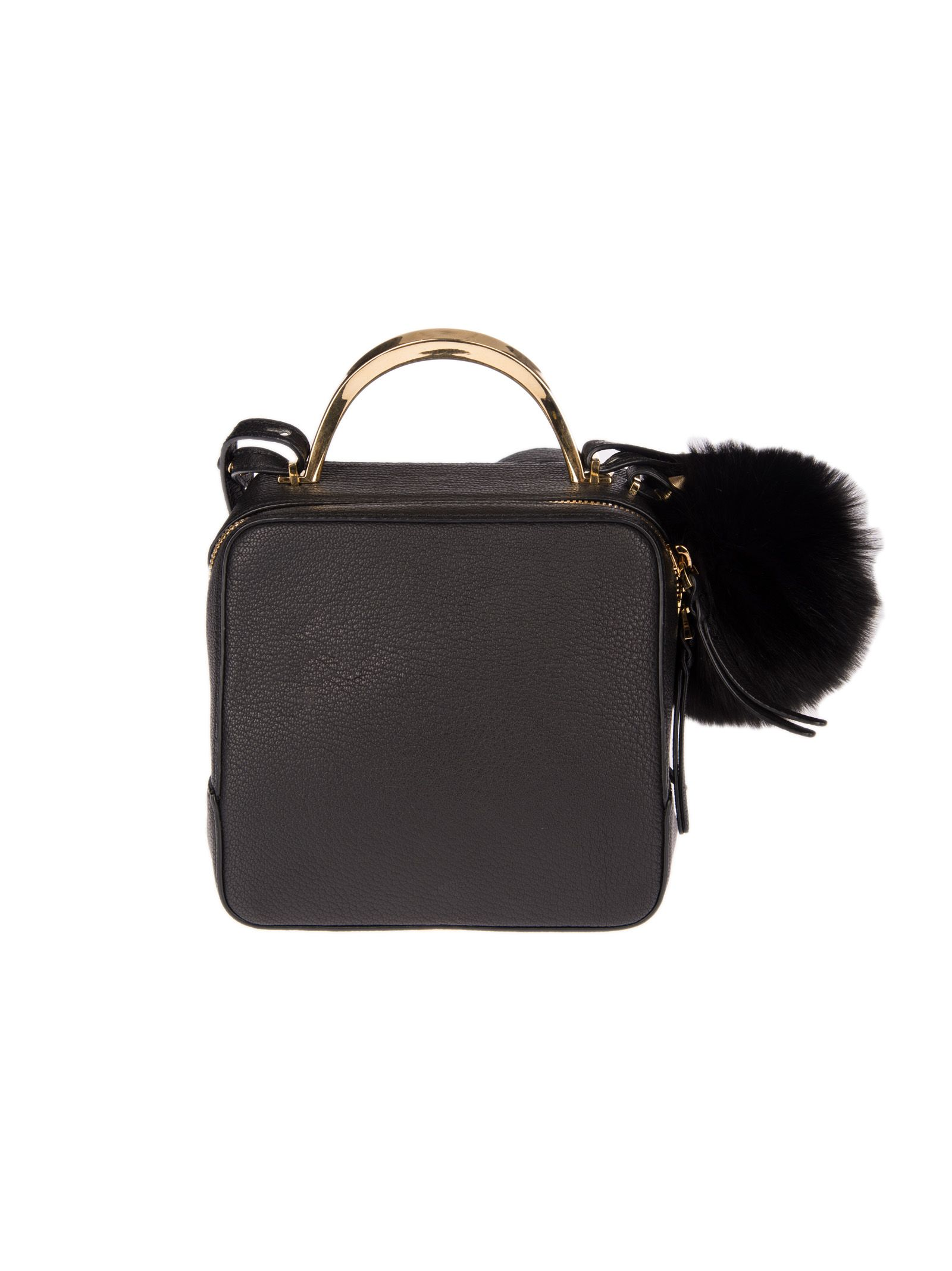 the VOLON Pom Pom Shoulder Bag