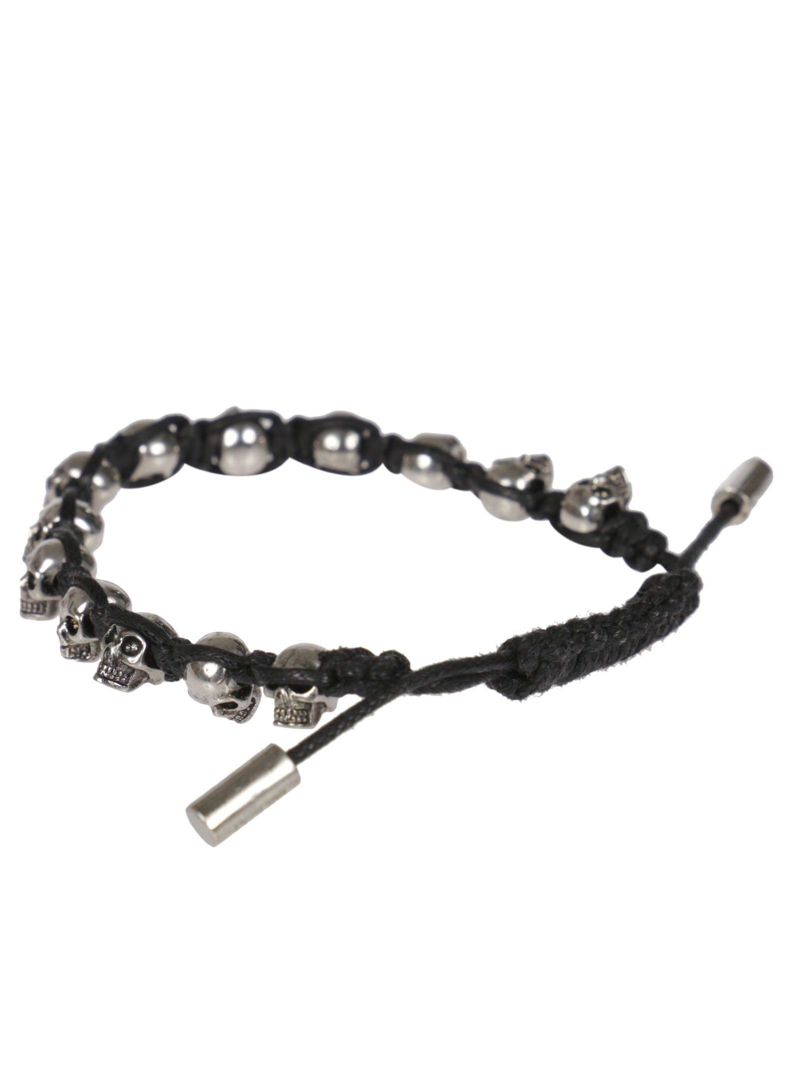 Silver-Tone Skull And Leather Bracelet - Black - One Siz