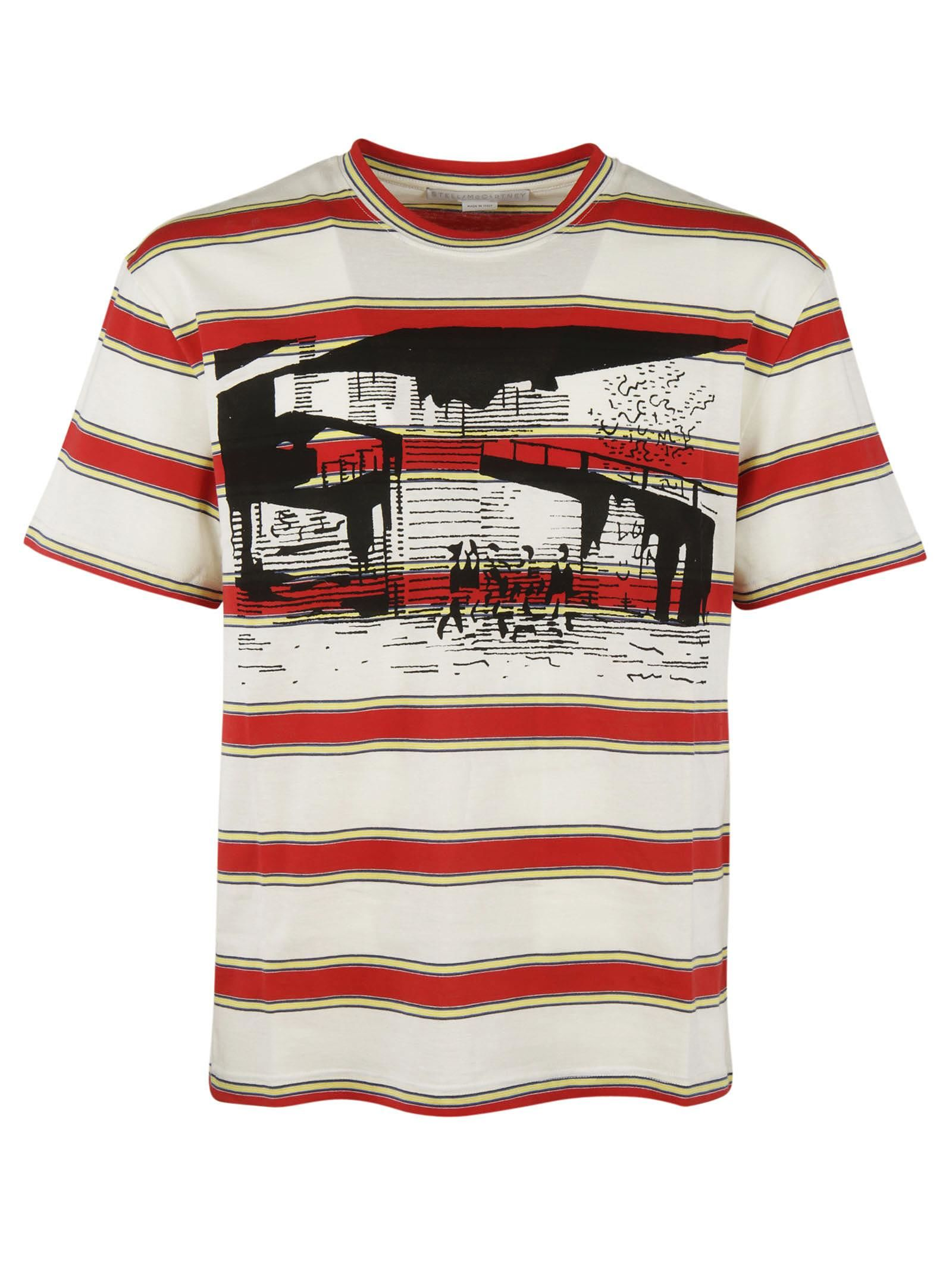 STELLA MCCARTNEY MEN'S STRIPED PRINTED T-SHIRT IN RED AND WHITE, MULTICOLOR