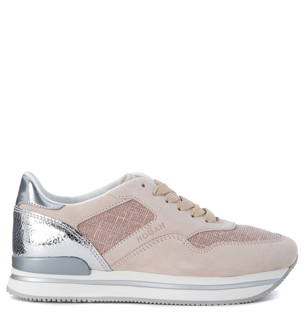 Hogan H222 Pink Leather And Fabric Sneaker