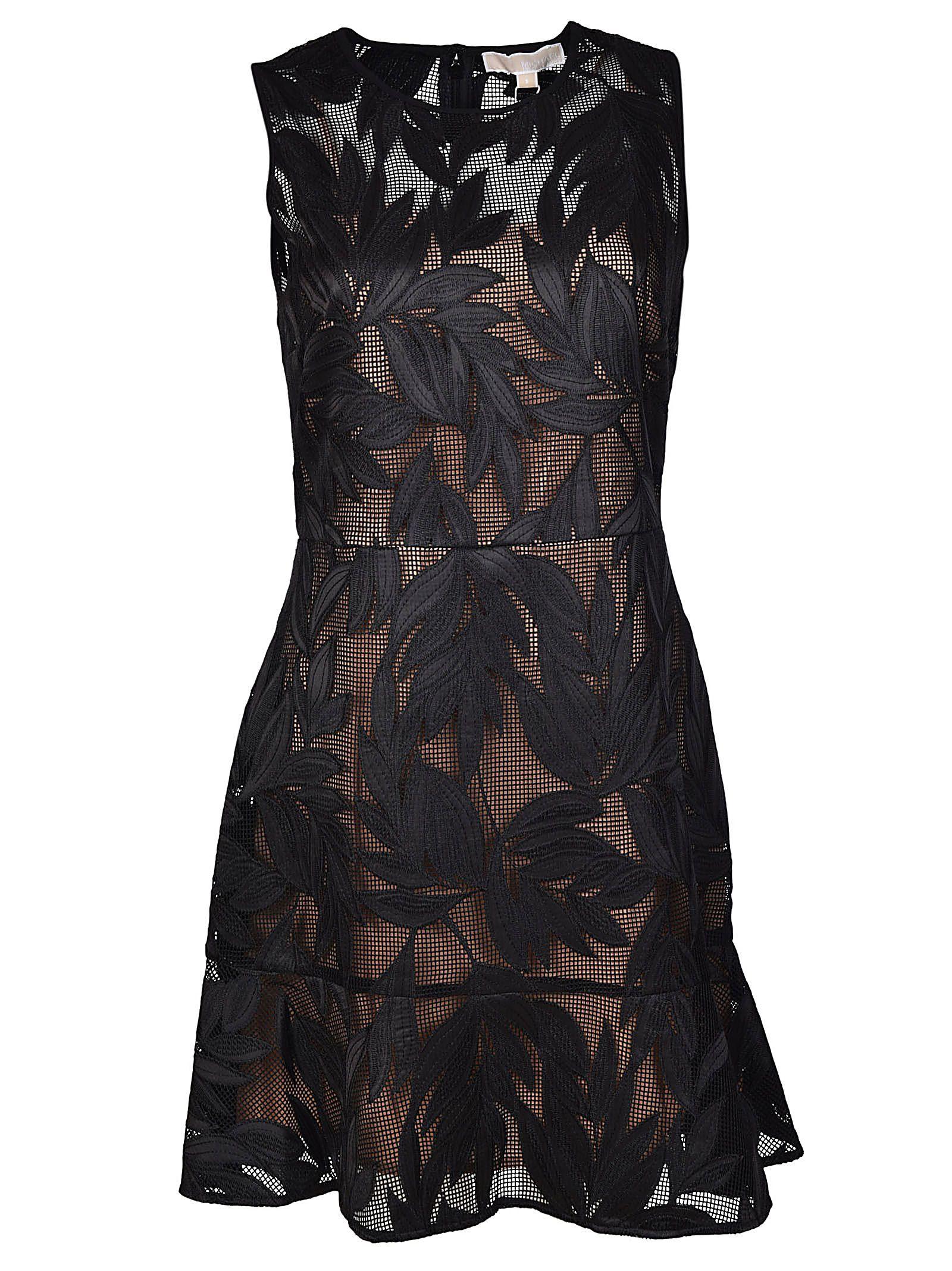 Michael Kors Palm-appliquéd Mesh Dress