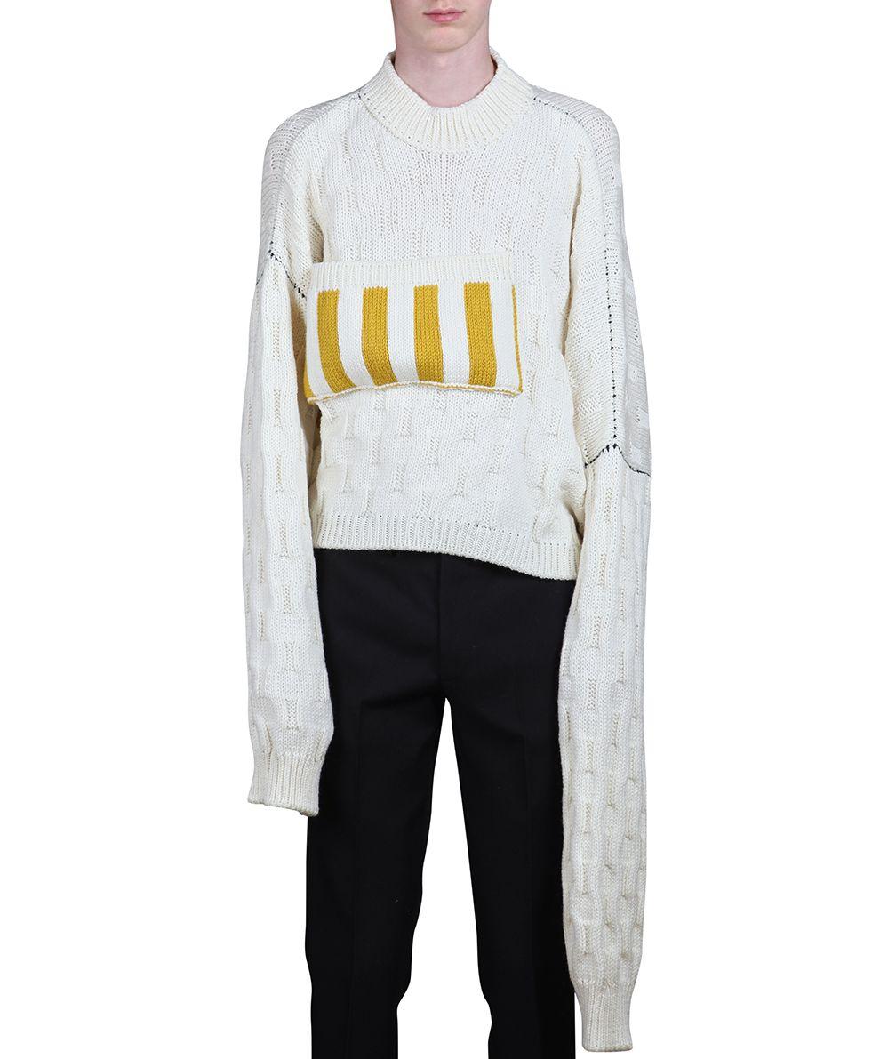Raf Simons - Raf Simons Oversized Wool Sweater - BIANCO, Men's ...