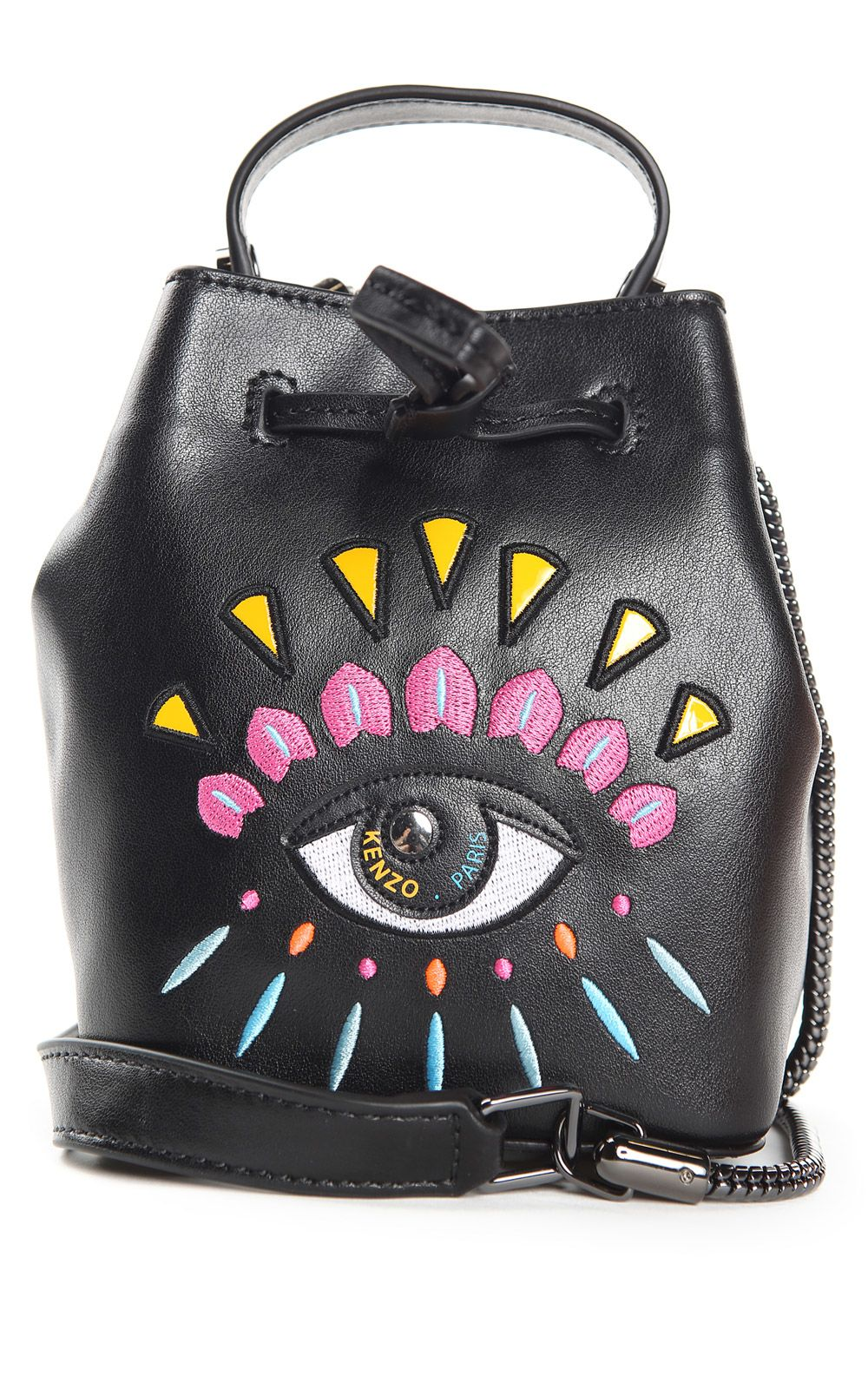 Kenzo Kenzo Eye Embroidered-leather Mini Bucket Bag