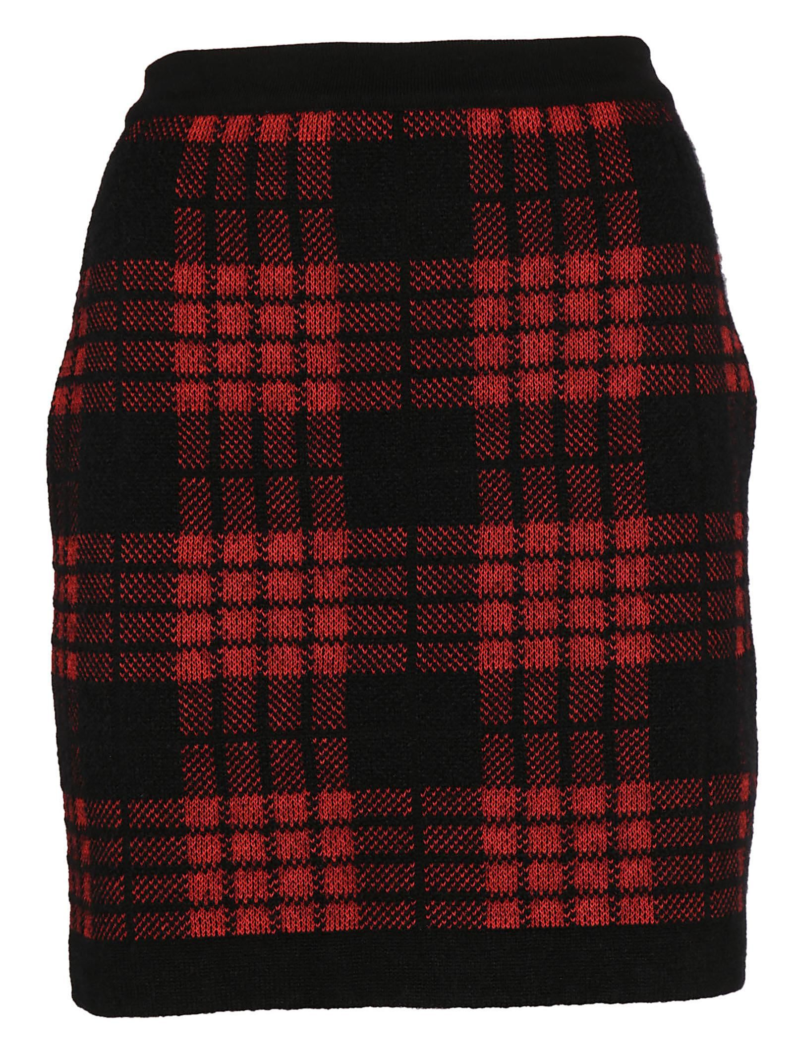 Balmain Plaid High Waist Skirt