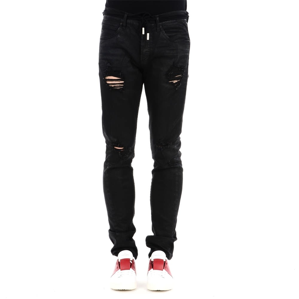 Off-White Black Ripped Skinny Denim Pants