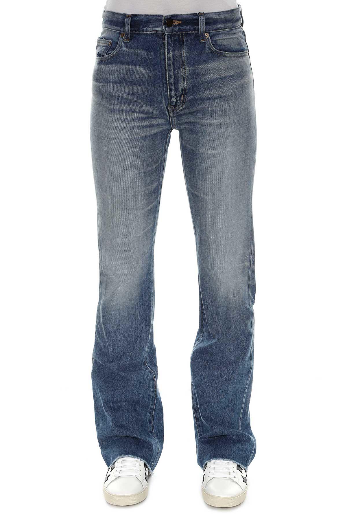 saint laurent saint laurent flare cropped jeans dirty vintage blue women 39 s jeans italist. Black Bedroom Furniture Sets. Home Design Ideas