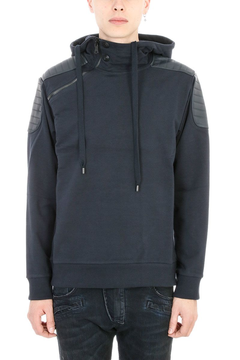 Pierre Balmain Blue Cotton Hooded Sweatshirt