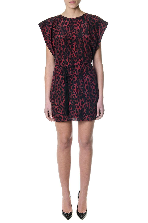 Saint Laurent Red Silk Leopard Print Dress