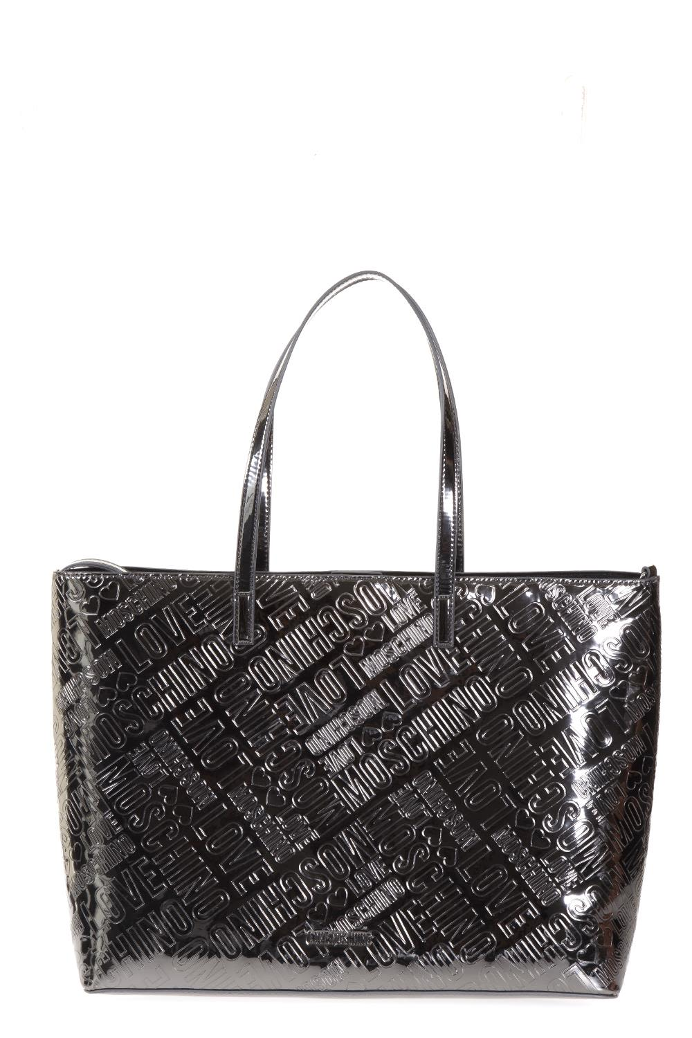 Love Moschino Logoed Faux Patent Shopping Bag