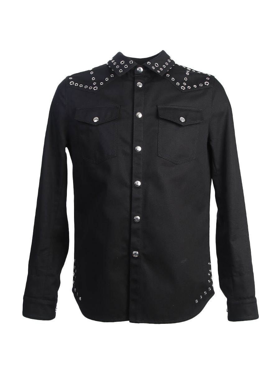 Cotton Jacket With Metal Eyelet Details