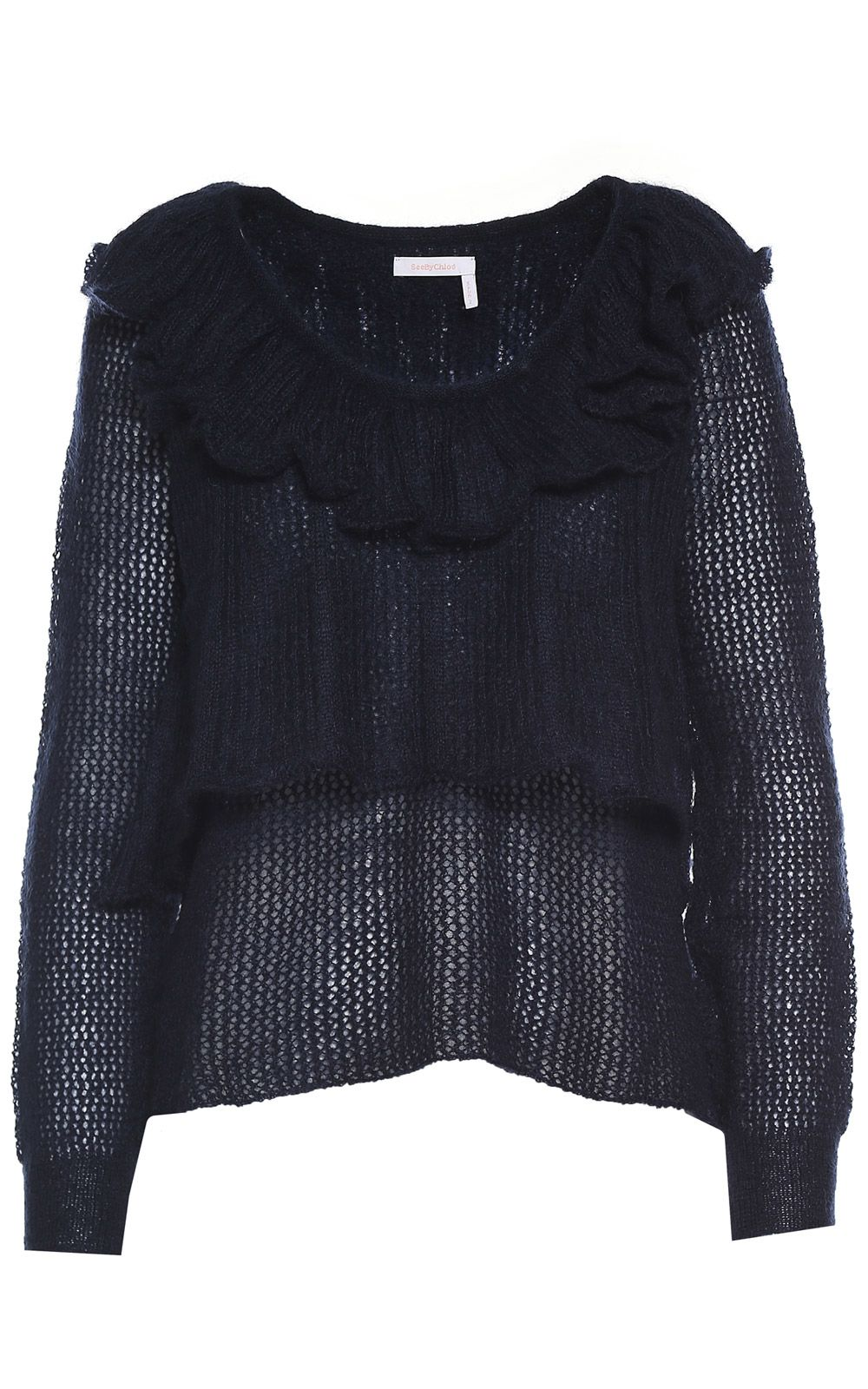 See by Chloé Ruffle-trimmed Mohair And Wool-blend Sweater