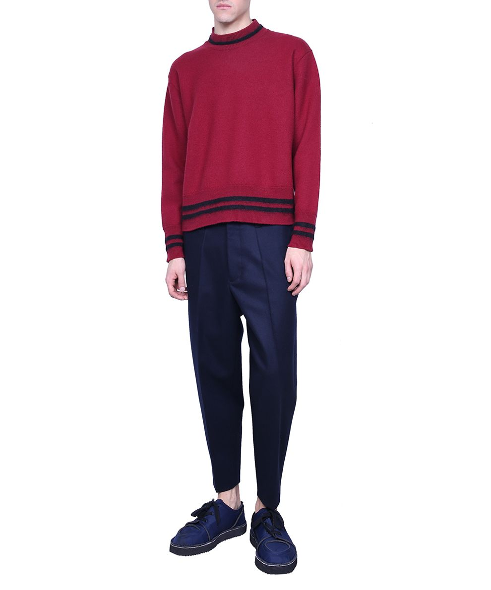 Marni - Marni Burgundy Wool Sweater - BORDEAUX, Men's Sweaters ...