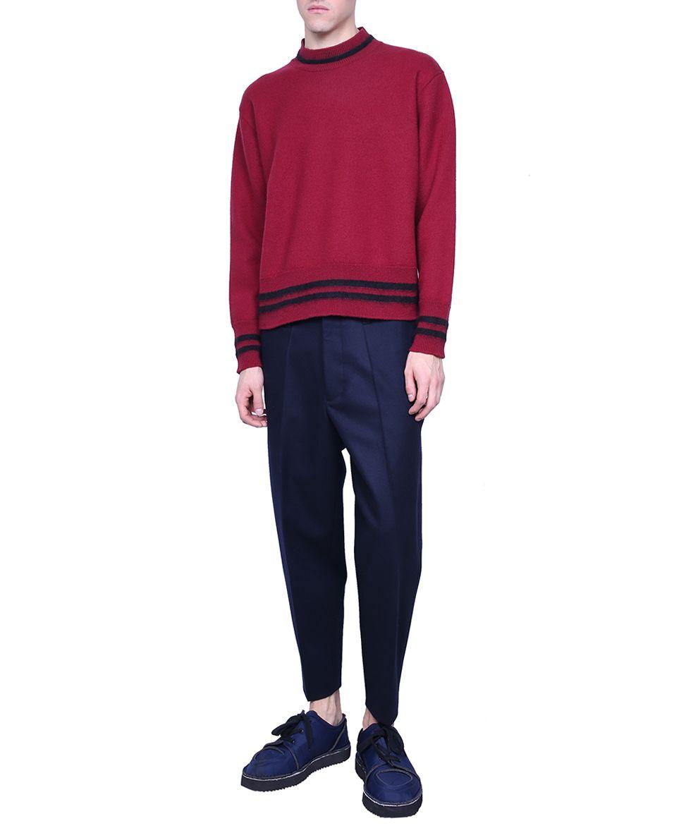 Marni - Marni Burgundy Wool Sweater - BORDEAUX, Men's Sweaters ...