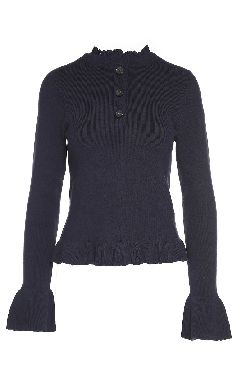 See by Chloé Ruffle-trimmed Fluted-hem Cotton-blend Sweater