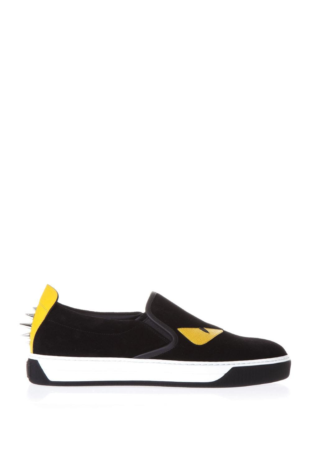 Fendi Bag Bugs Black Suede Slip-on Sneakers