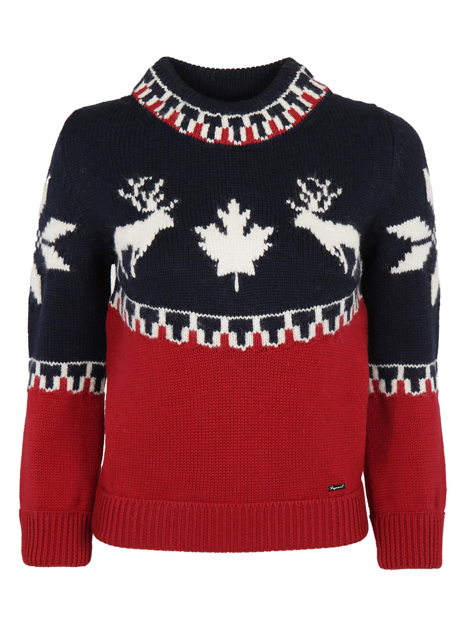 Dsquared2 Fairisle Raindeer Intarsia Sweater