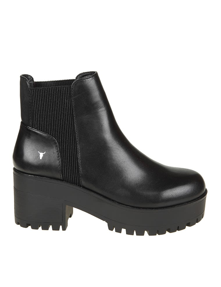 Windsorsmith Black Leather Ankle Boot