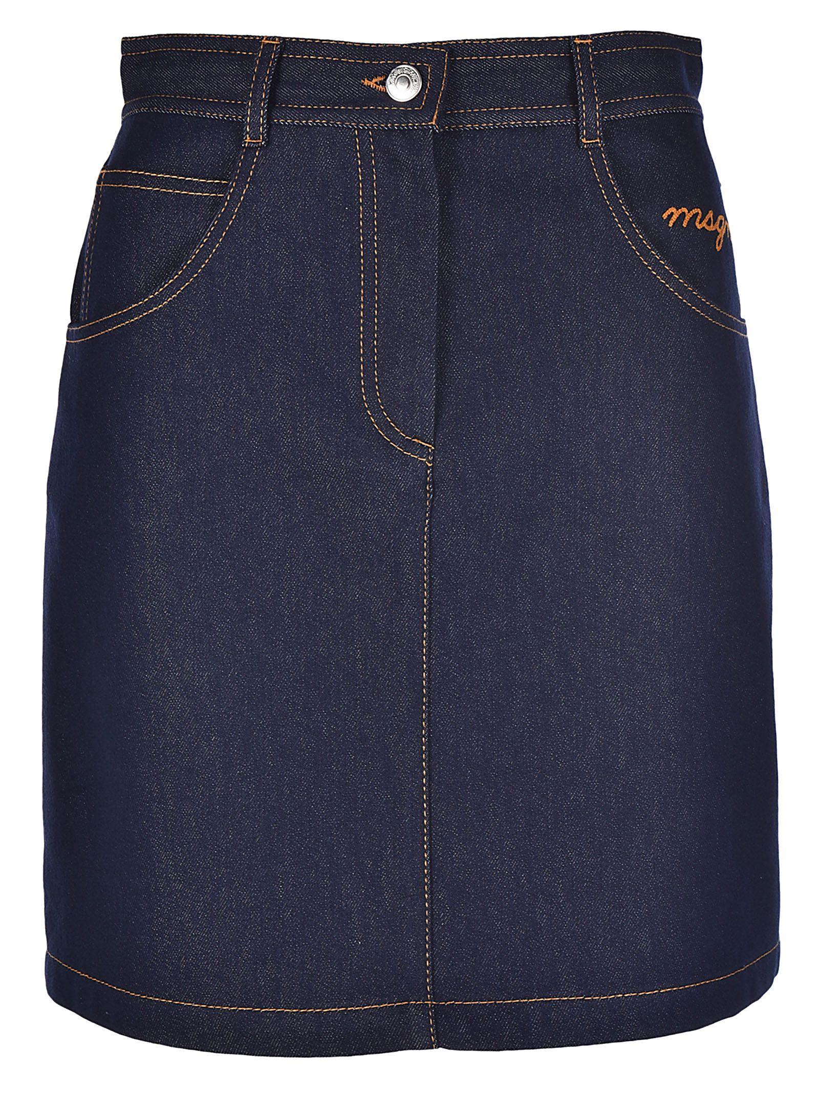 Msgm A-line Denim Skirt