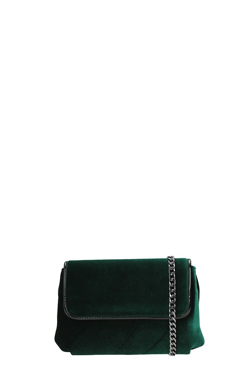 Lola Cruz Black Green Velvet Shoulder Bag