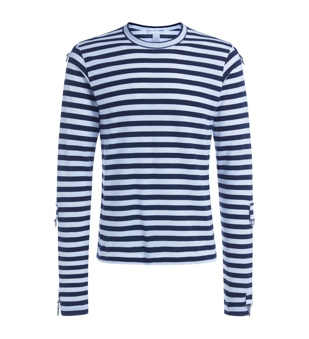 Comme Des Garçons Shirt White And Blue Striped T-shirt
