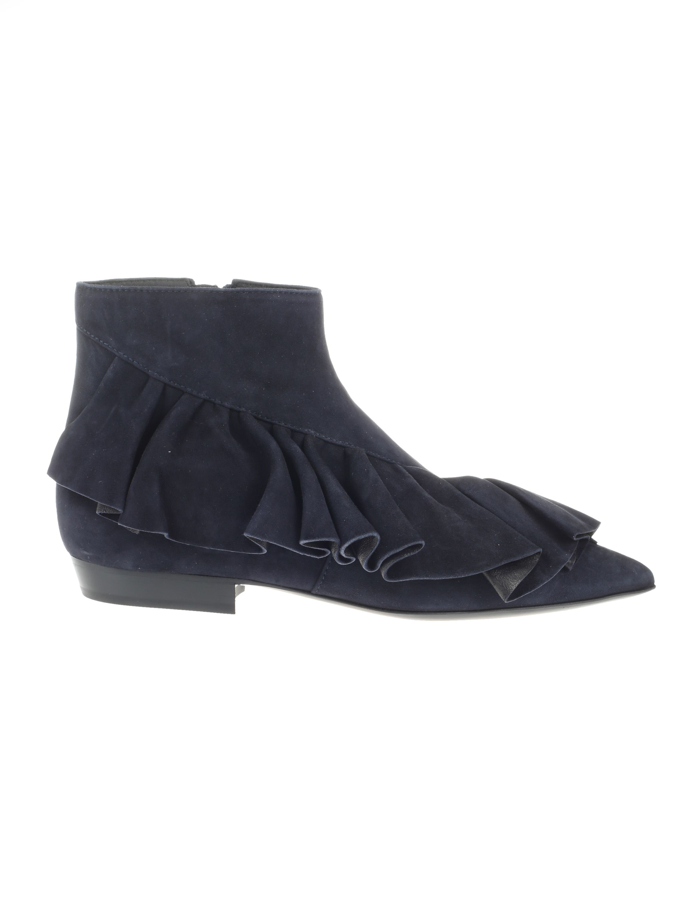 J.W. ANDERSON WOMEN'S  BLUE SUEDE ANKLE BOOTS