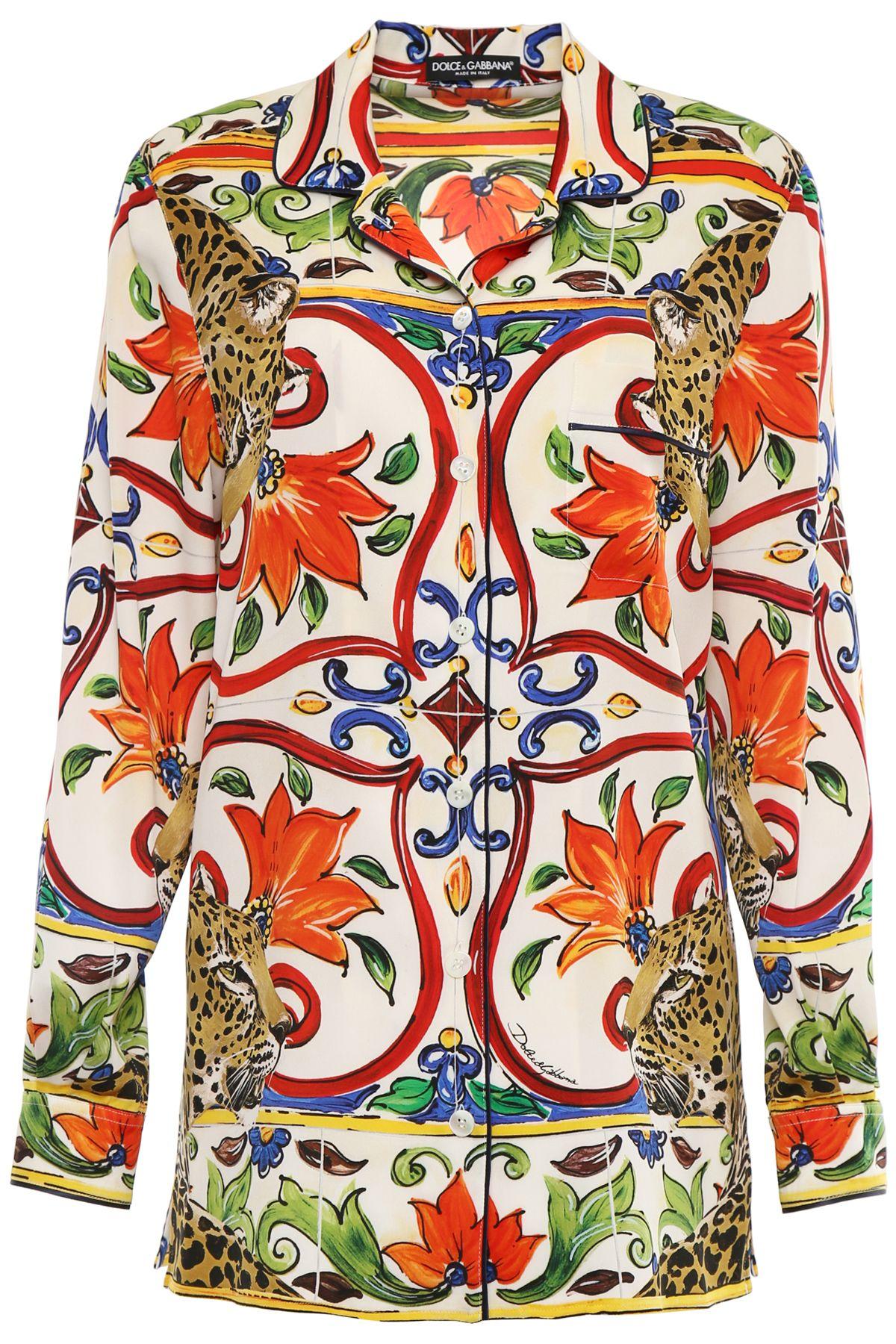 Maiolica And Leopard Silk Shirt