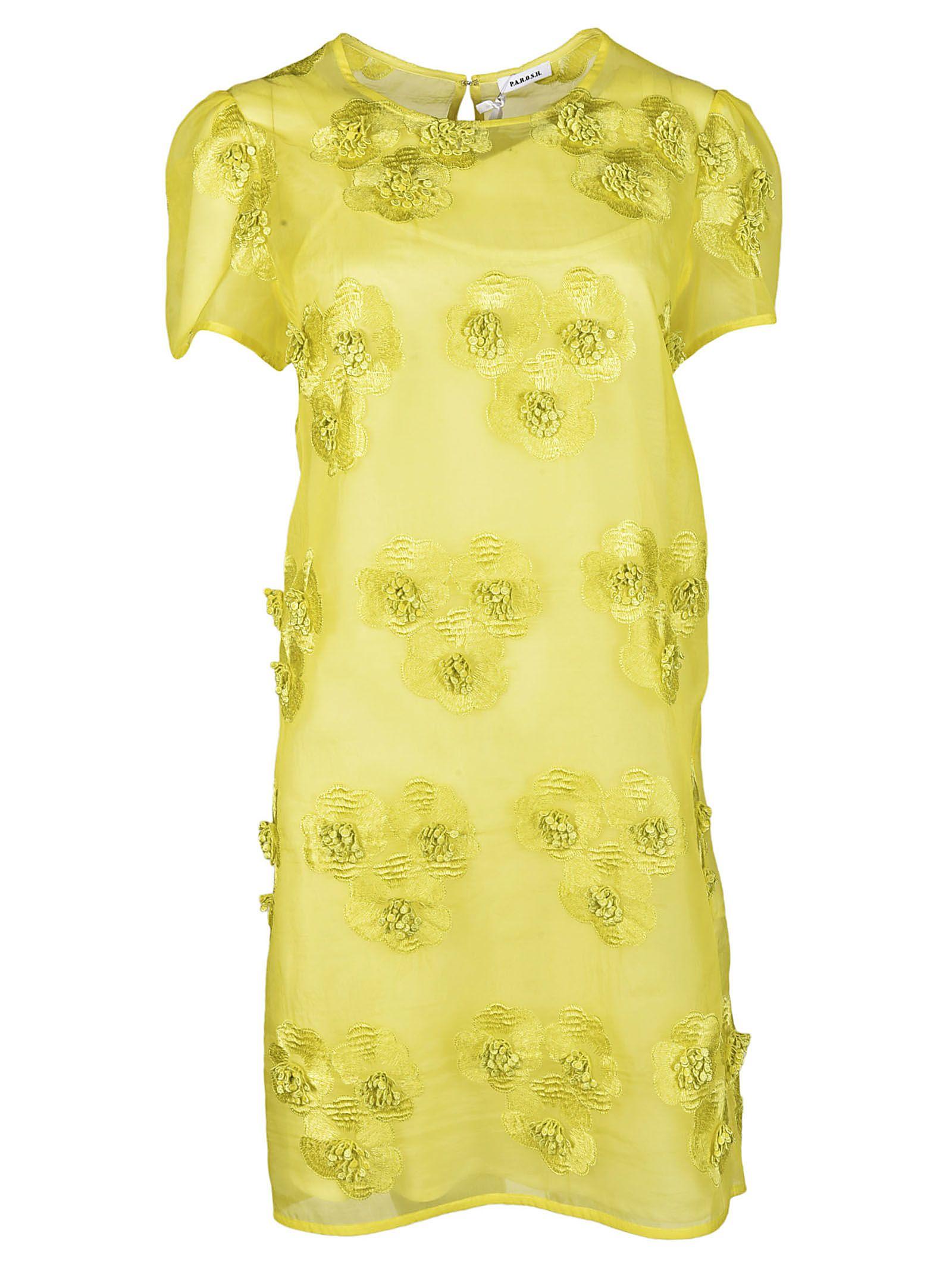 Parosh Flower Applique Dress