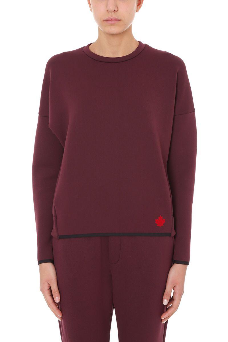 Dsquared2 Sweatshirts BURGUNDY COTTON SWEATSHIRT