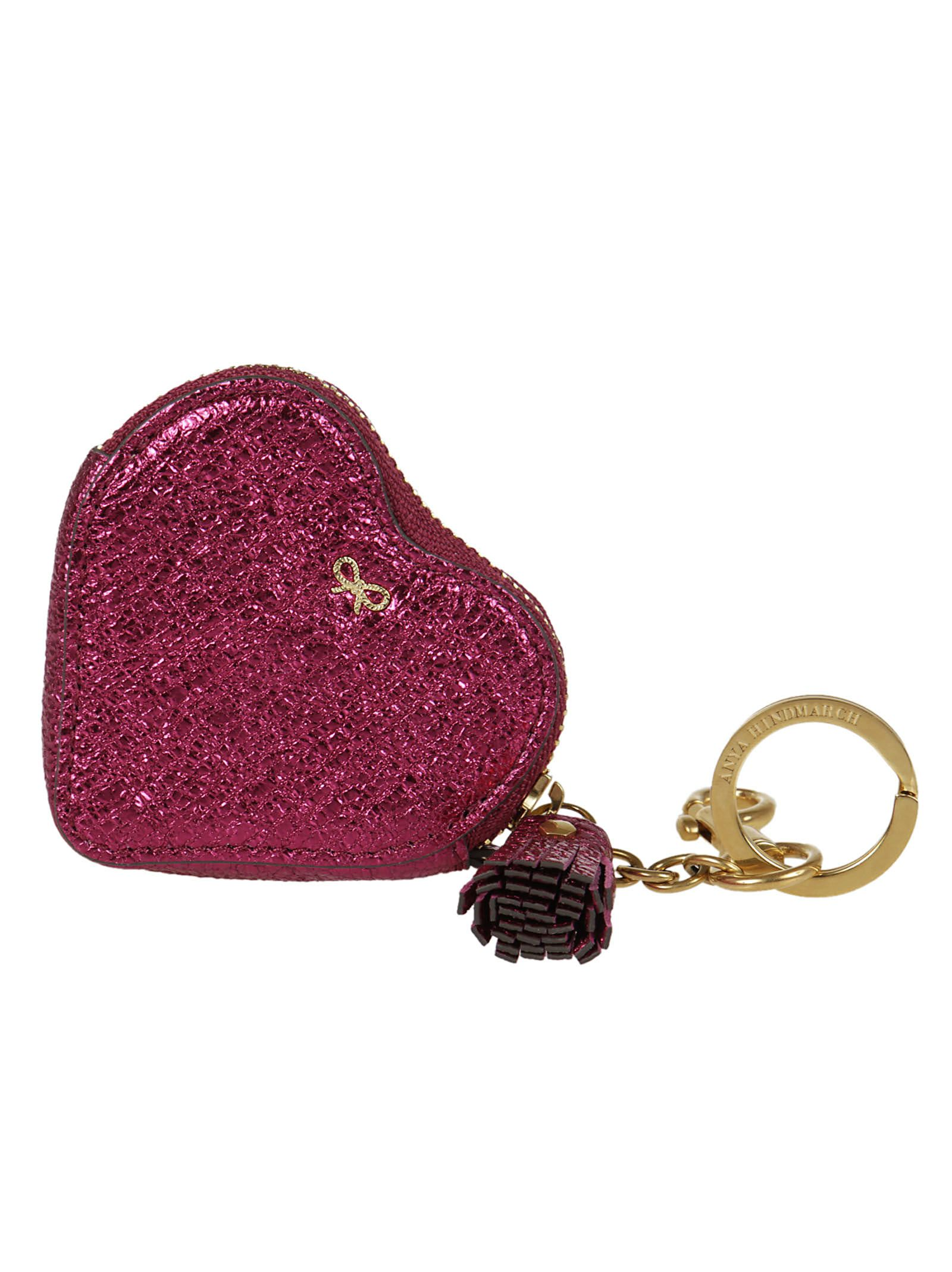 Anya Hindmarch Crinkled Metallic Heart Coin Purse