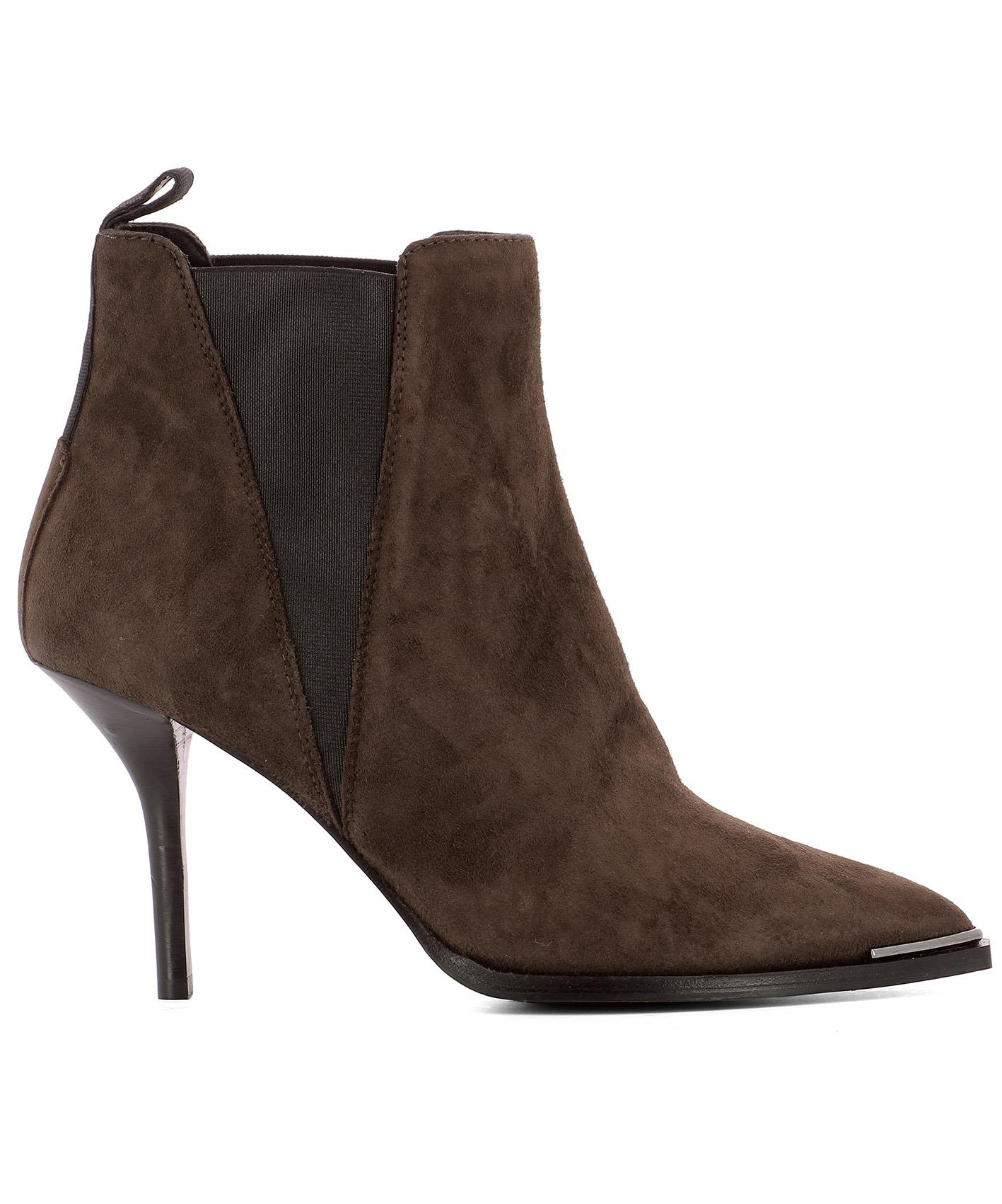 Acne Studios - Brown Suede Heeled Ankle Boots - Brown ...
