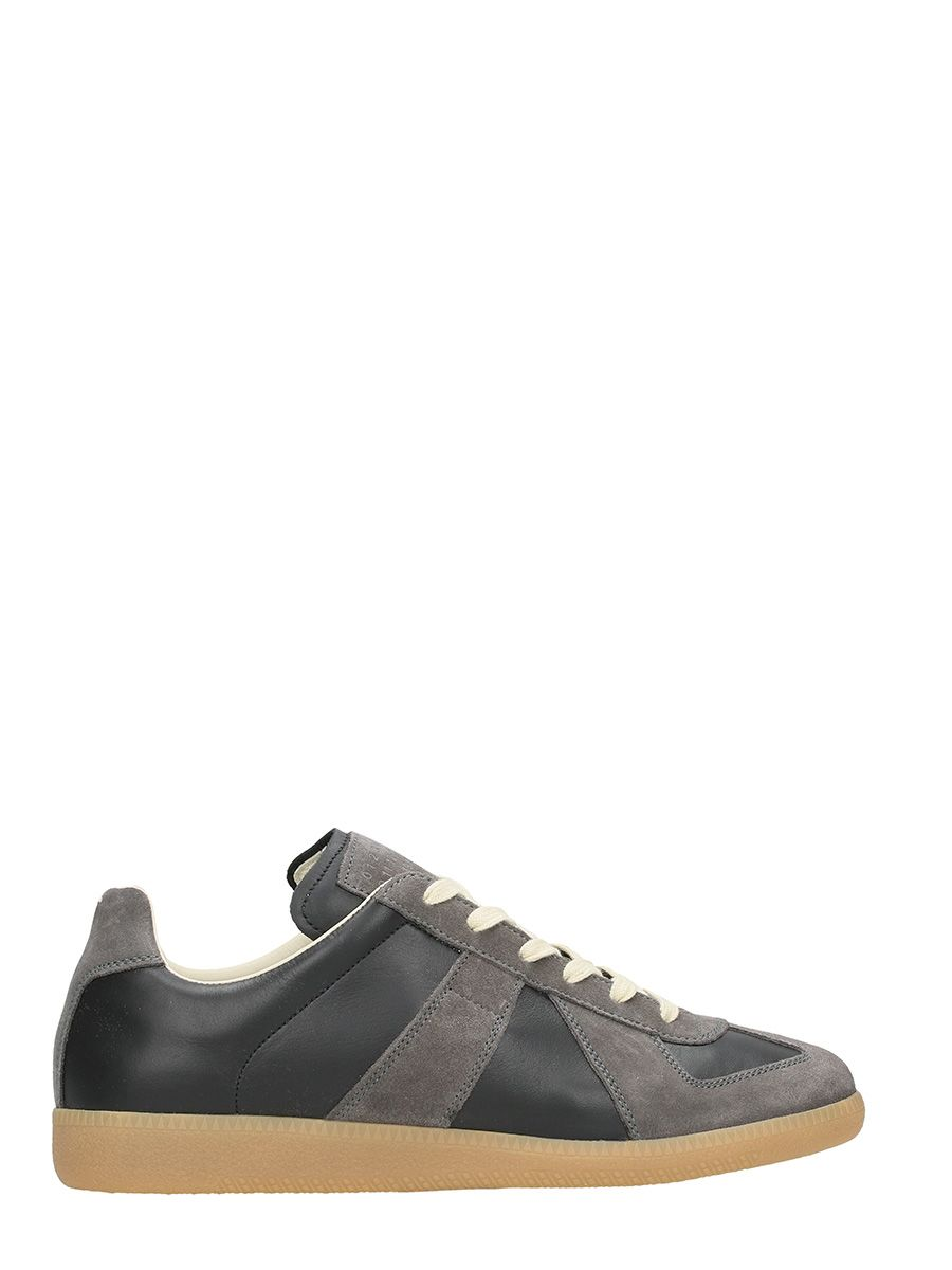 Maison Margiela Replica Black-grey Suede And Leather Sneakers