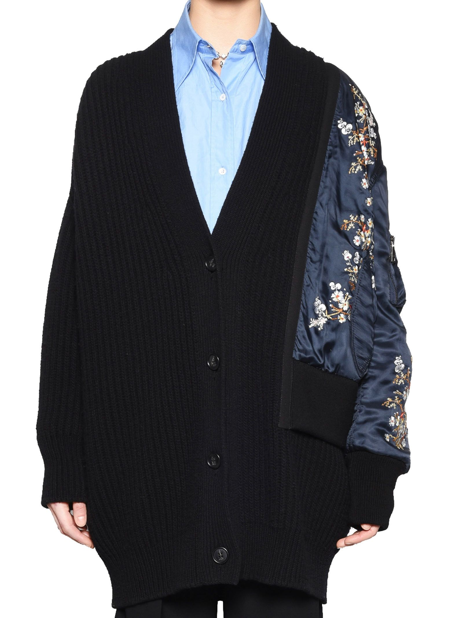 N°21 No21 Embroidered Arm Ribbed Cardigan in Black
