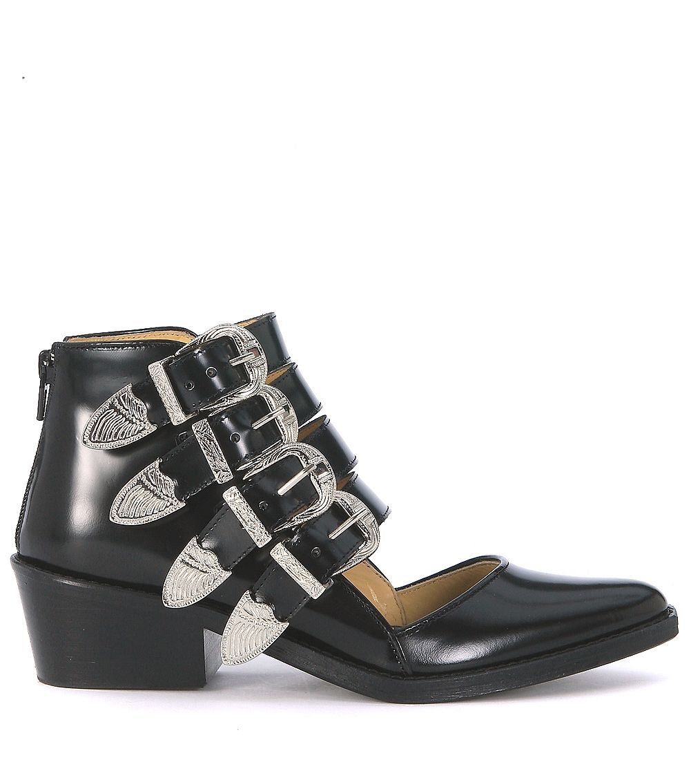 Toga Pulla Ankle Boots In Black Brushed Leather