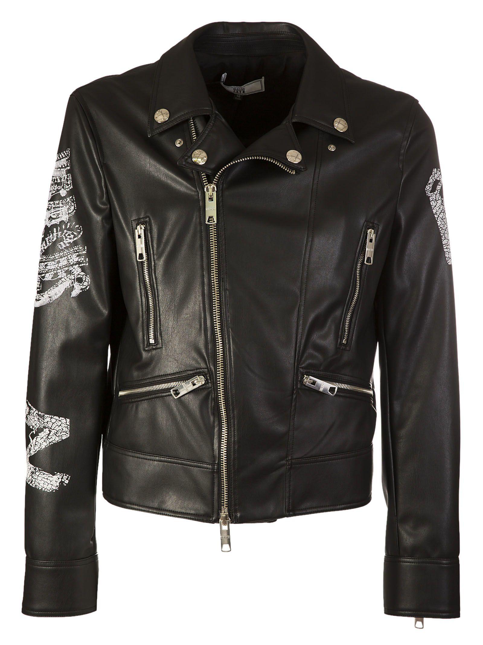 Versus Logo Embroidery Biker Jacket