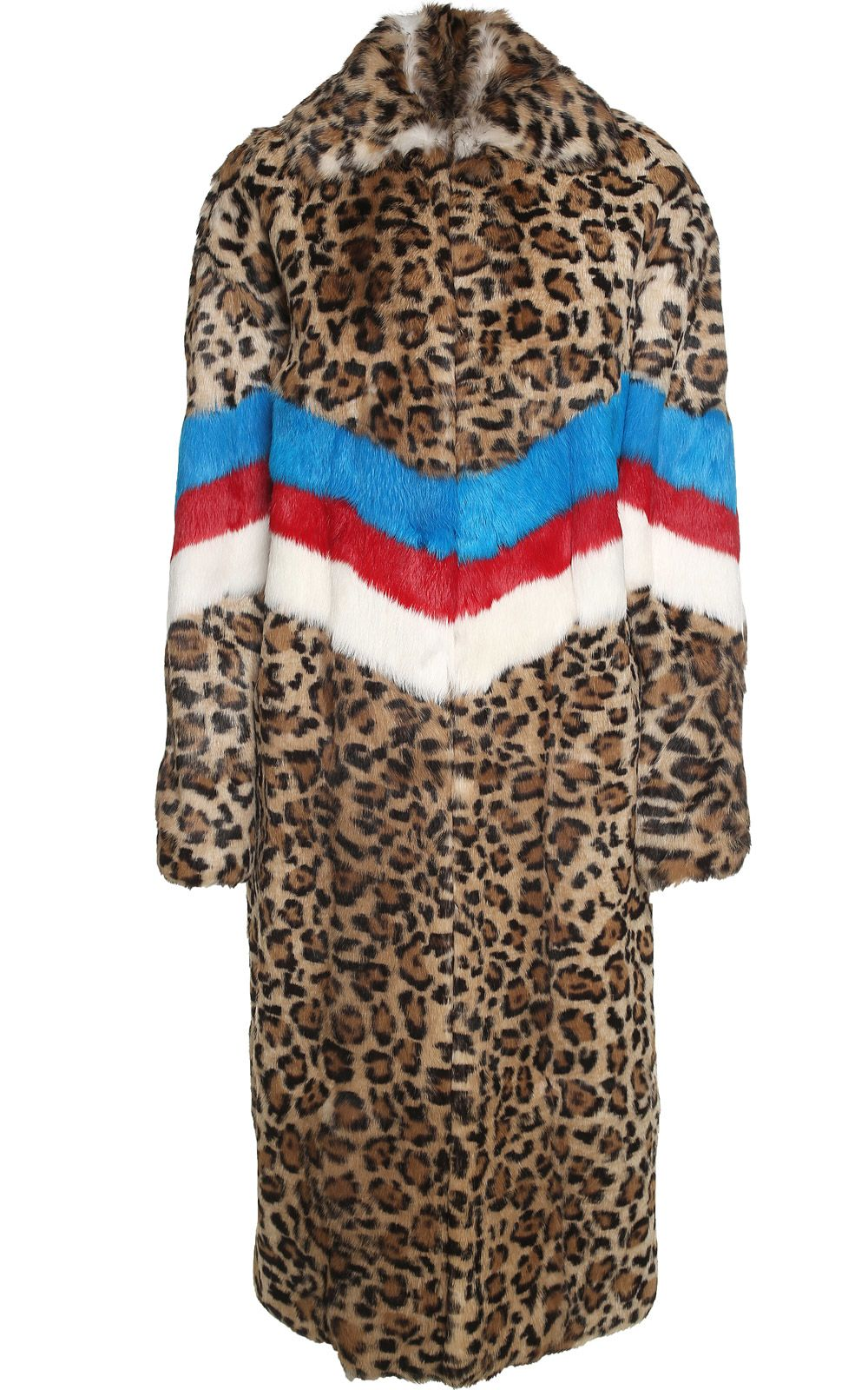 MSGM Striped Leo-print Lapin-fur Coat