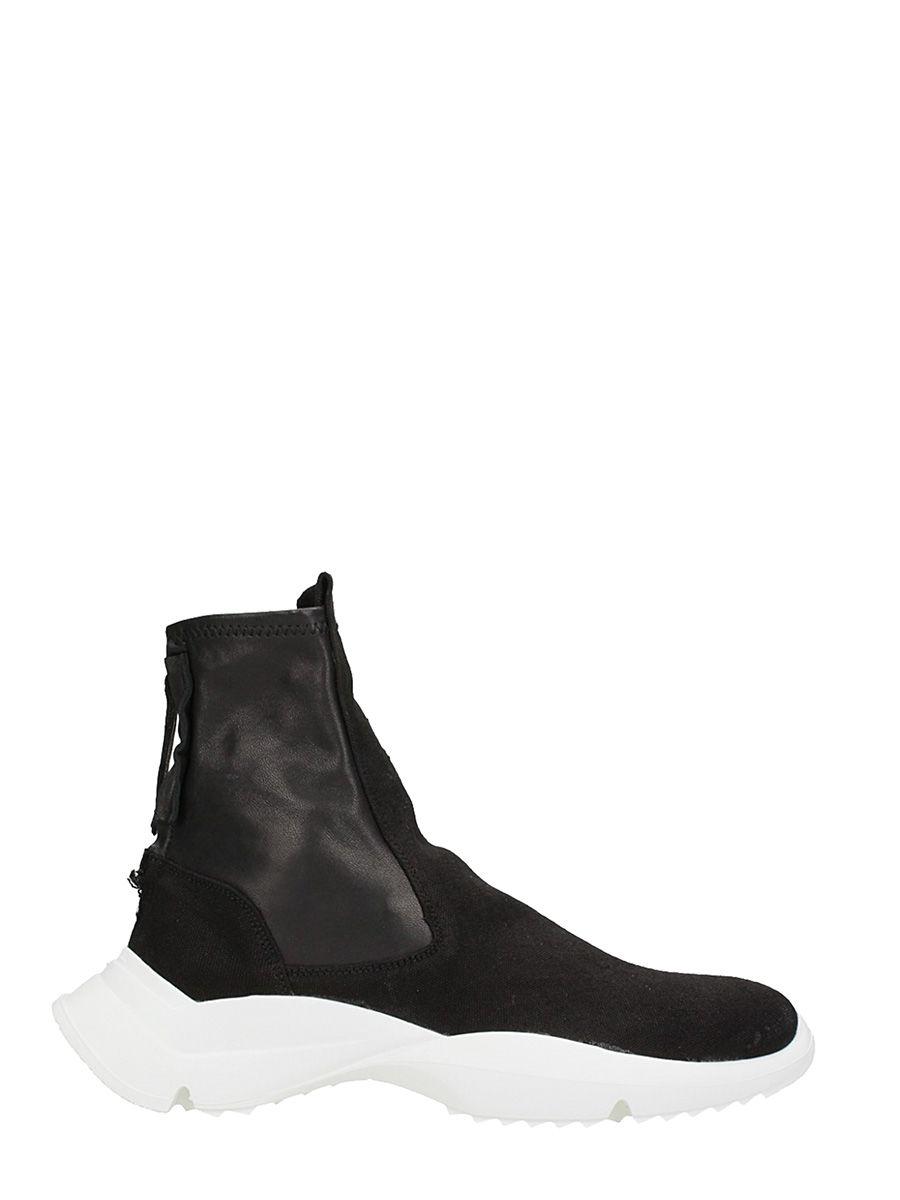 Cinzia Araia Slip On Black Leather Sneakers