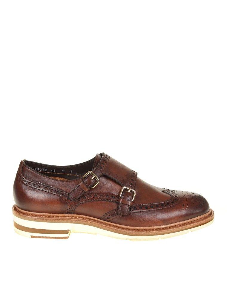 Santoni Brown Leather Shoe Double Buckle