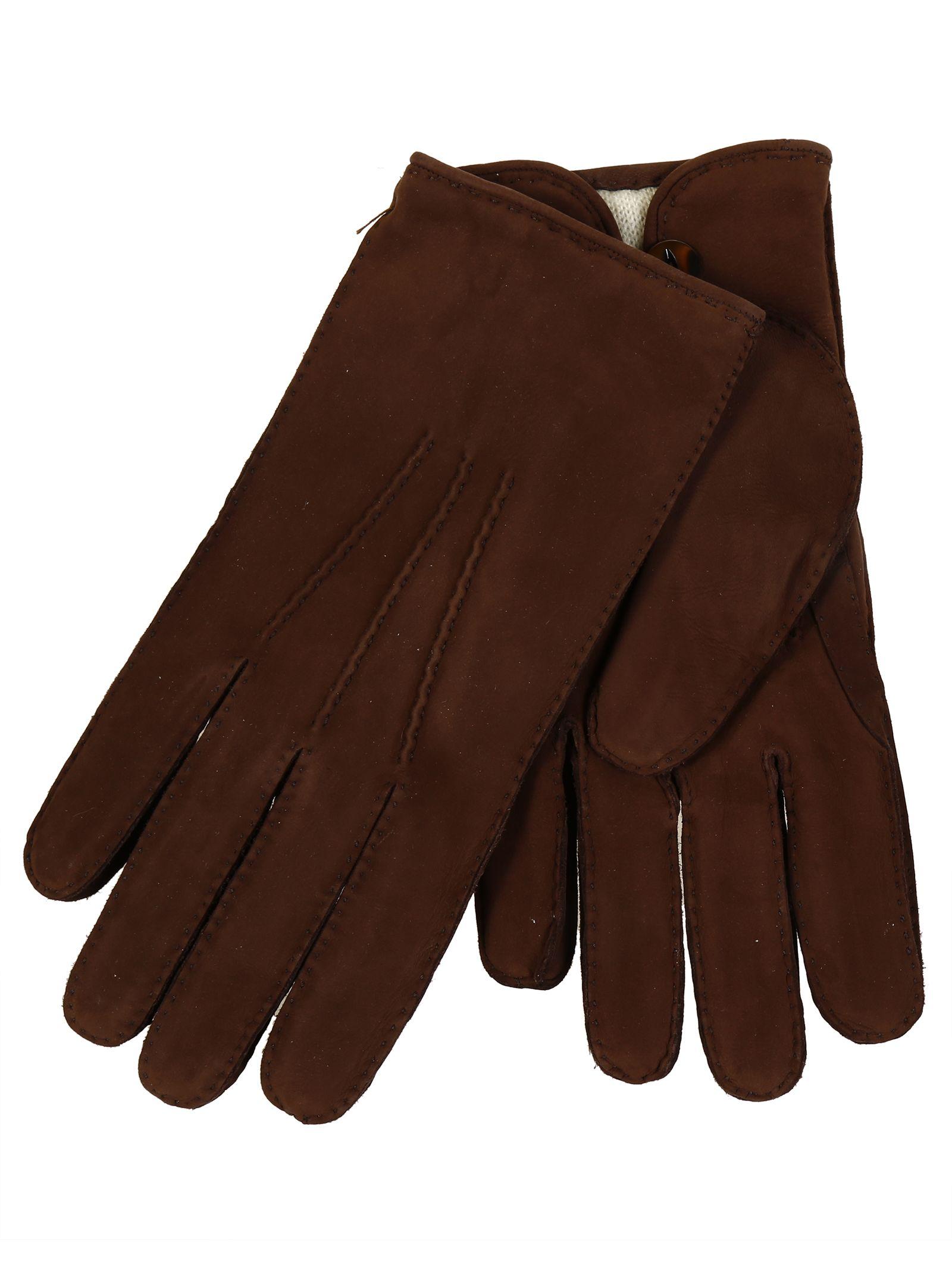 Restelli Nubuck Hand-Stitched Gloves With Gap Under Button