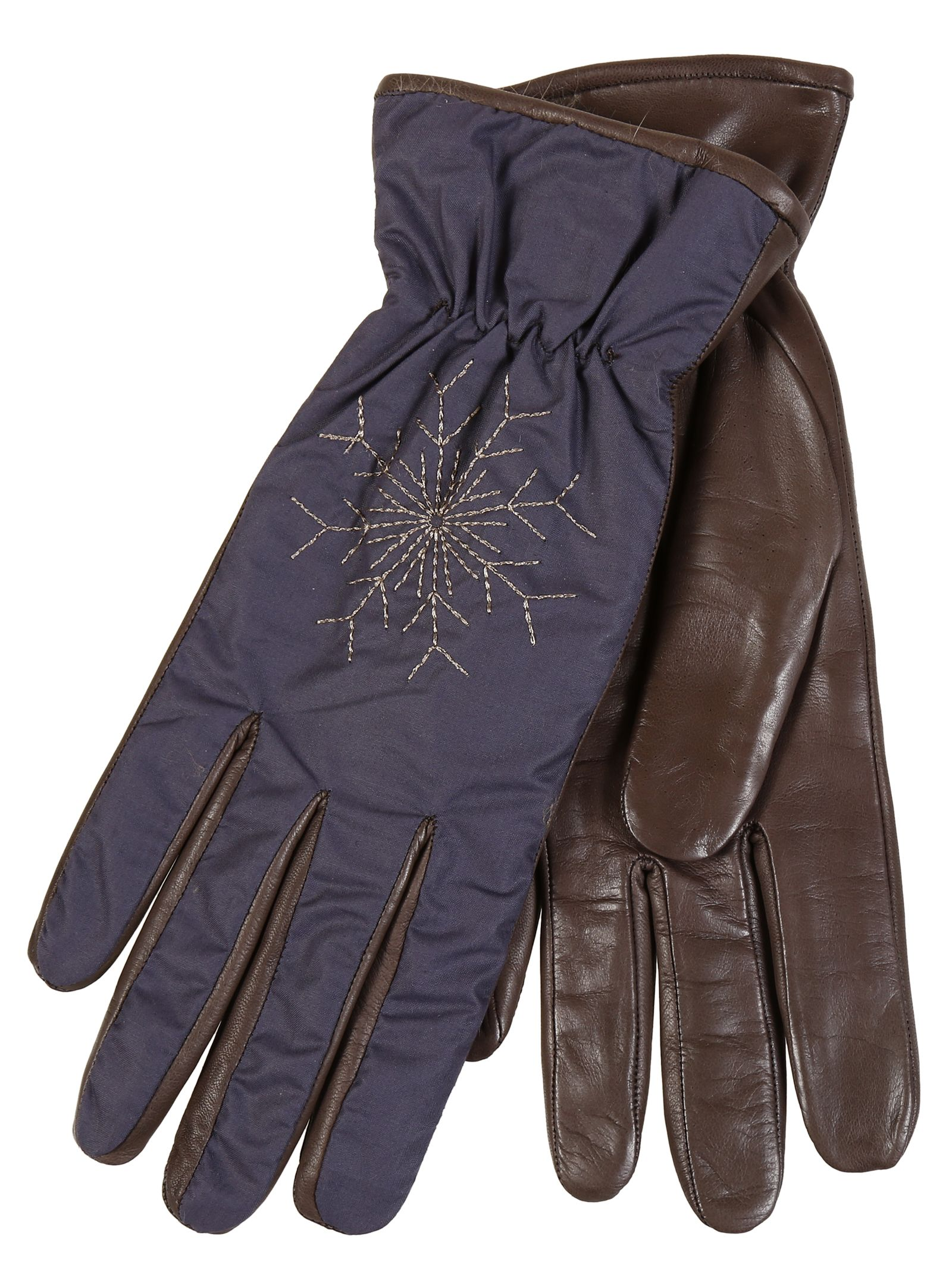 Restelli Nappa Leather Gloves With Snowflake Embroidery. Lined rabbit