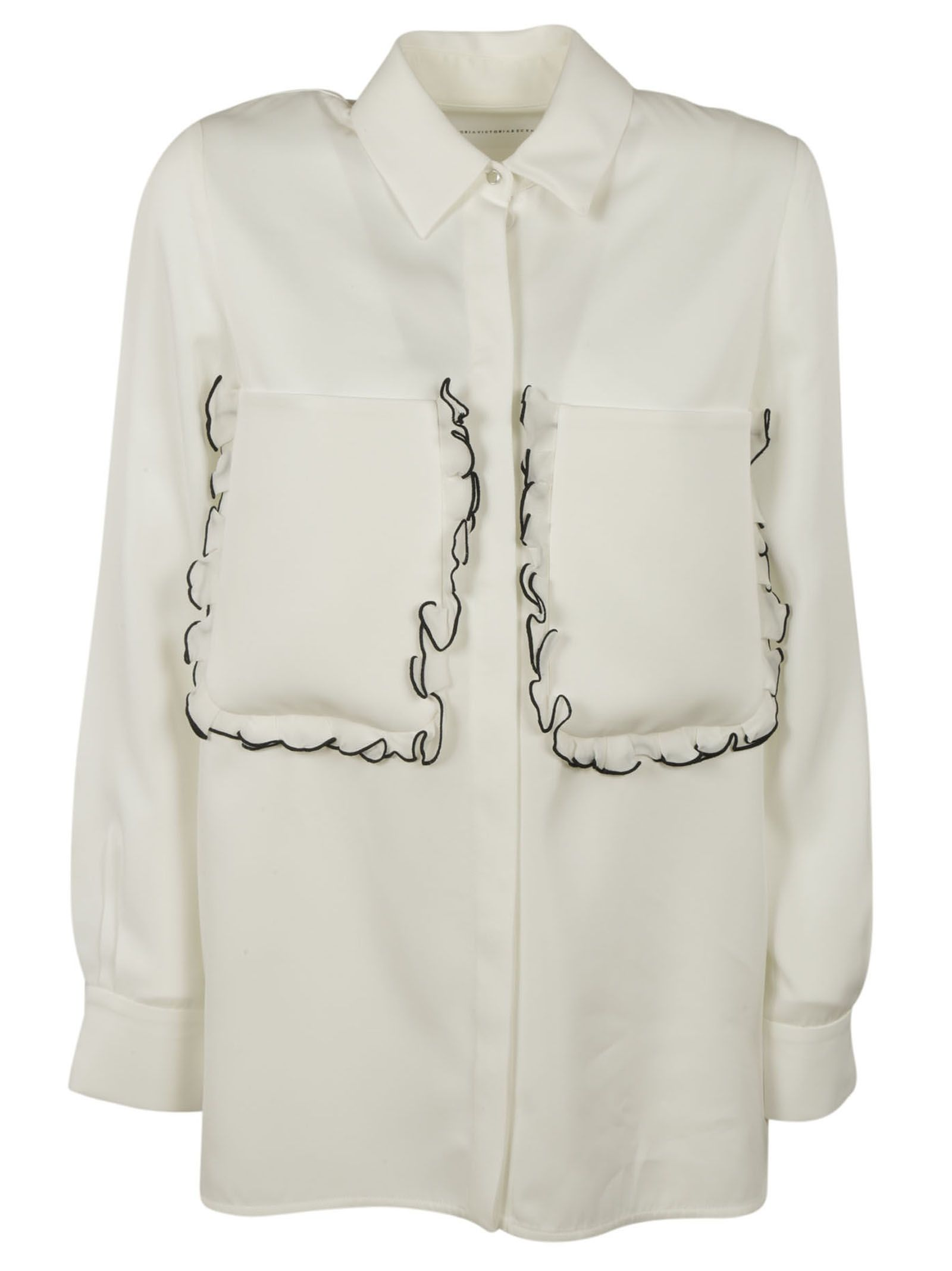 Victoria Beckham Victoria Beckham Ruffle Shirt Ivory