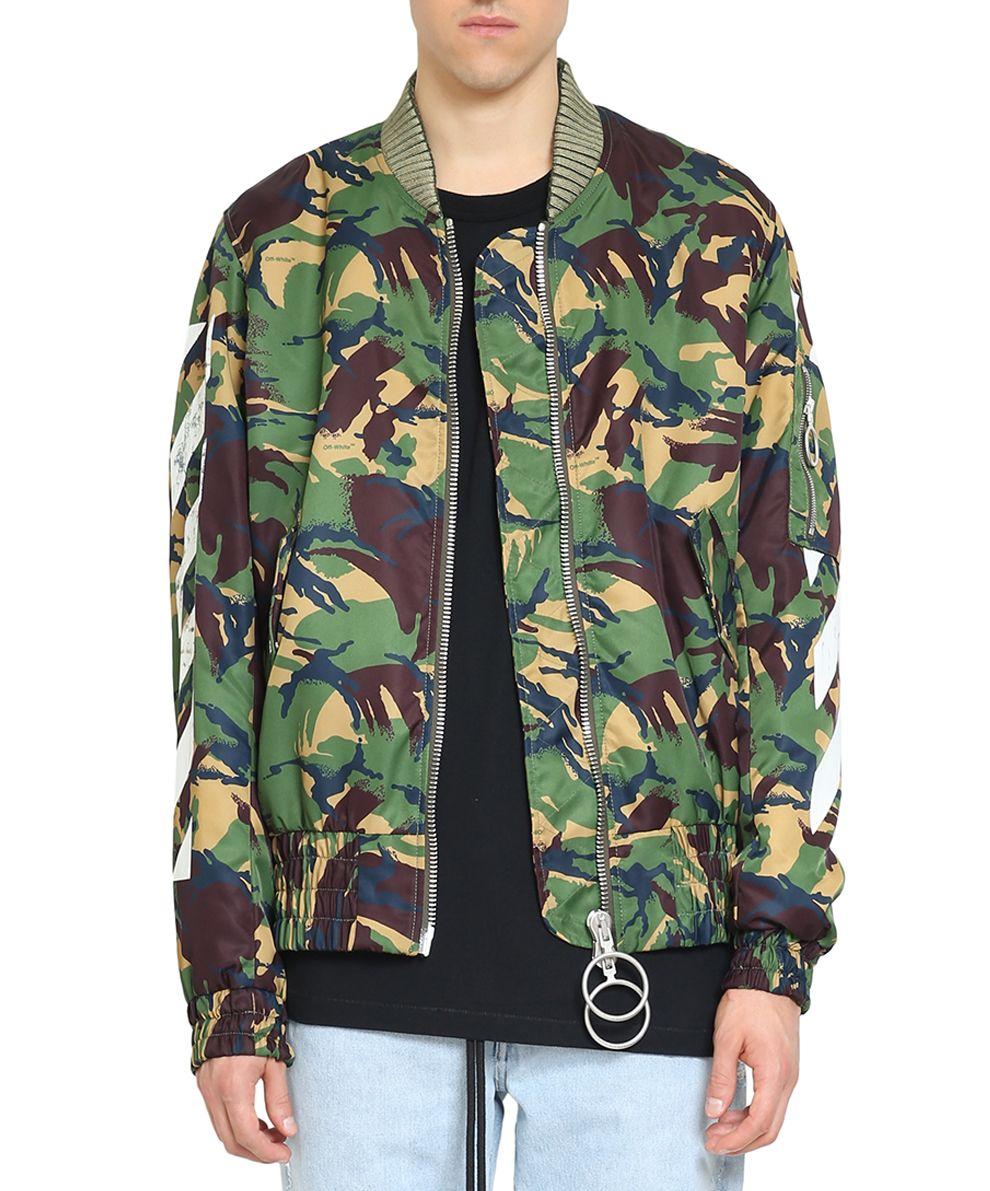 Off-White Diagonal Camouflage Nylon Bomber Jacket
