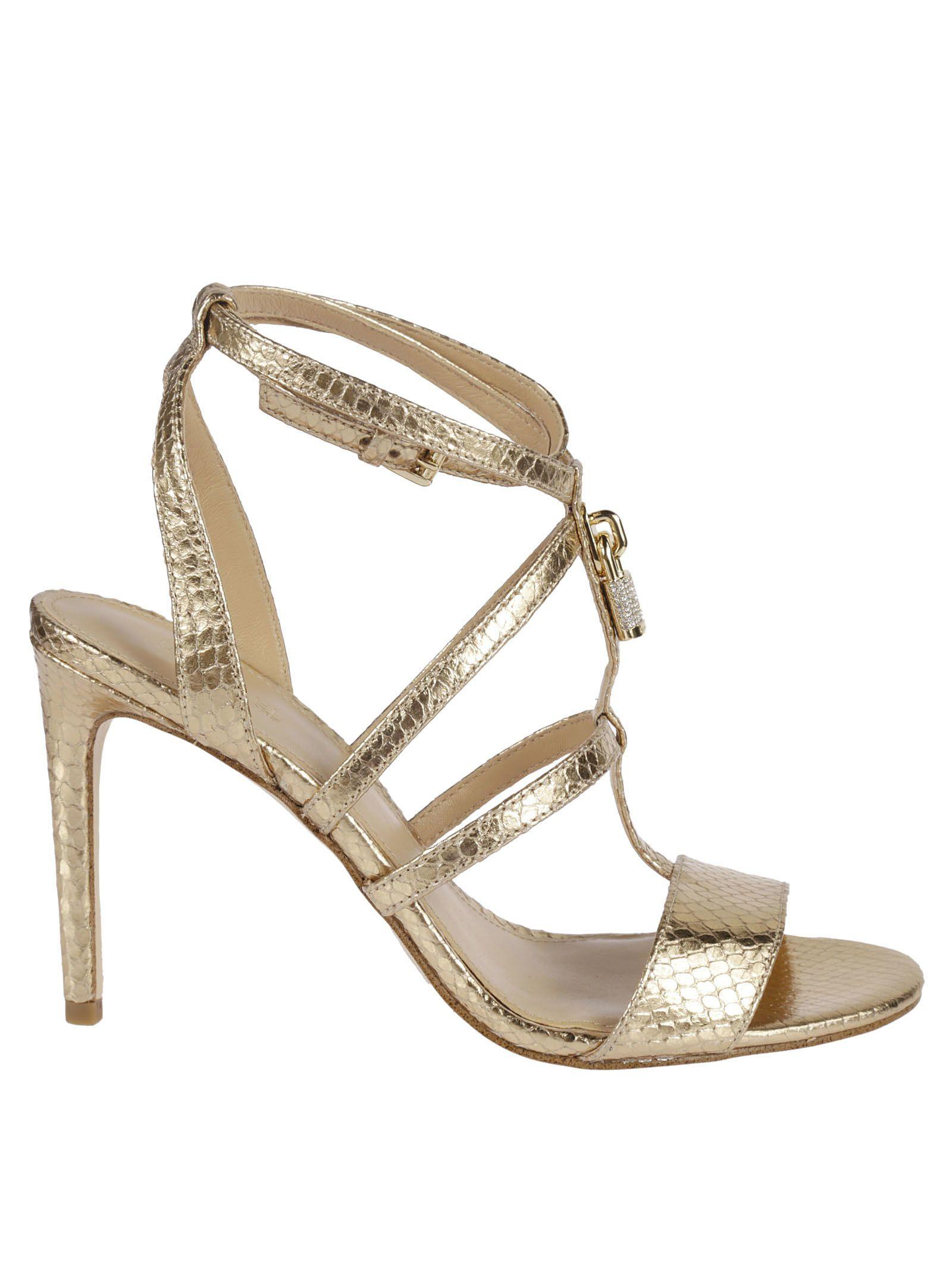 Michael Michael Kors Snakeskin Detail Mid-heel Sandals
