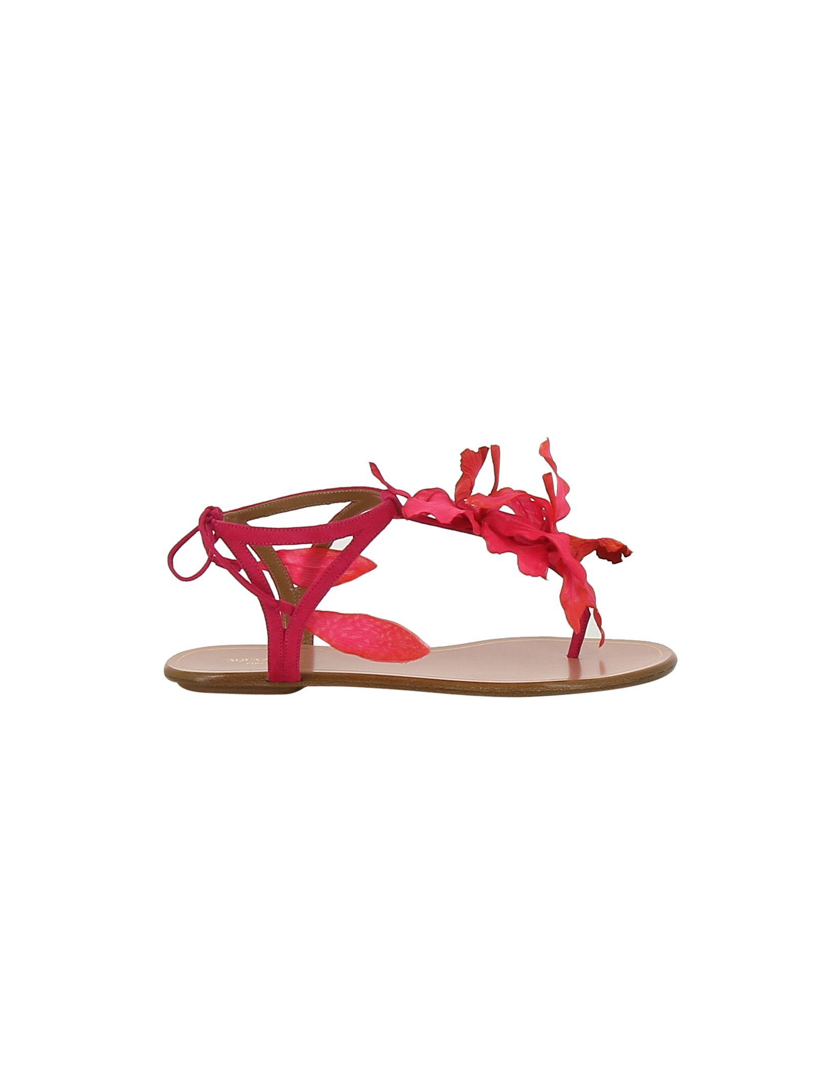 Aquazzura Floral Flat Sandals