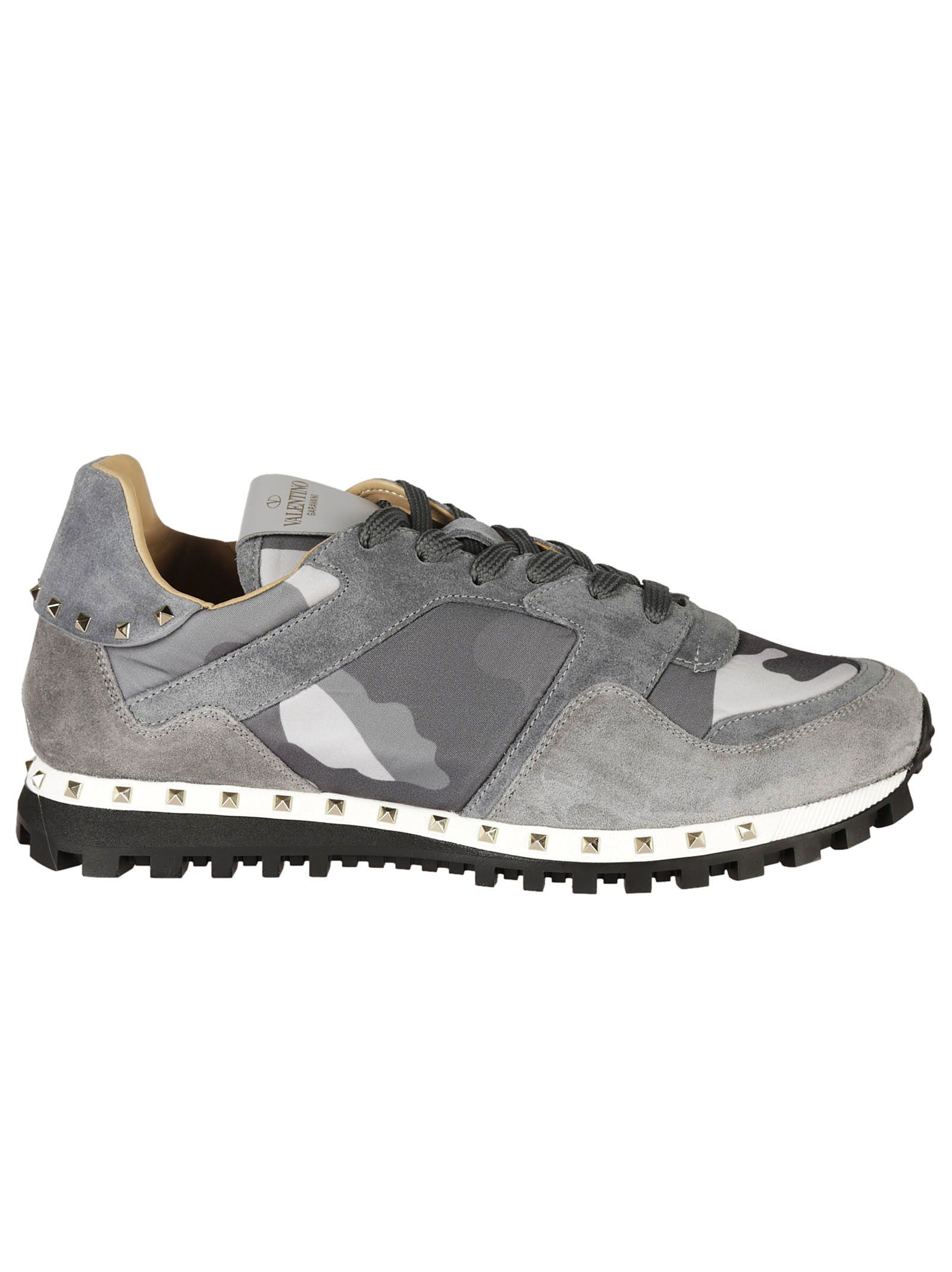 valentino garavani valentino garavani rockstud camouflage sneakers gray men 39 s sneakers. Black Bedroom Furniture Sets. Home Design Ideas