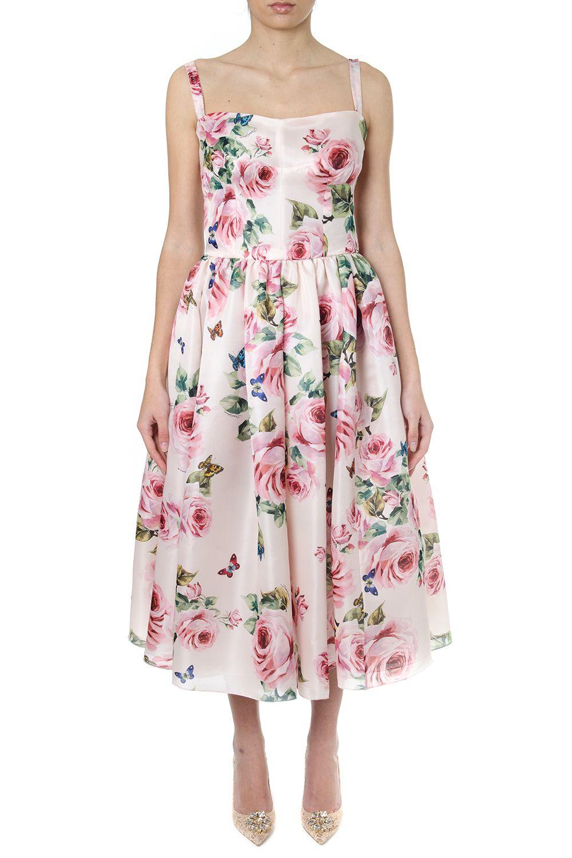Dolce & Gabbana Rose Multicoloured Silk Organza Dress