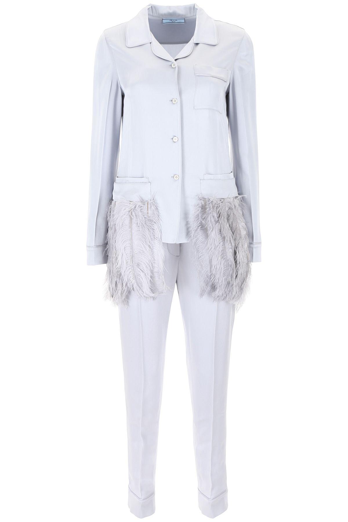 Satin Pyjama Set With Feathers
